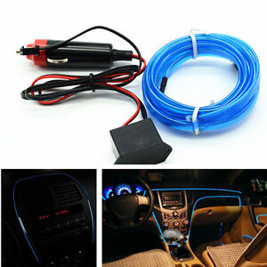 Car Blue Panel Interior Trim Light Cold EL Neon Lamp Atmosphere Glow OLED Strip