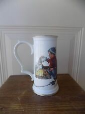 Gorham Norman Rockwell Beer Stein A Boy Meets His Dog 22k Gold Trim