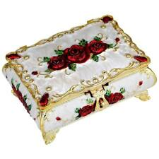 Vintage Enameled Rectangular Decorative Collectible Jewelry Trinket Box
