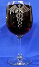 Medical Caduceus etched wine glasses, set of 4