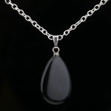 USA New Natural Black Obsidian Stone Crystal Healing Water drop Pendant Necklace