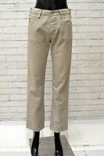 Pantalone ARMANI Donna Taglia  28 Jeans Pants Woman Cotone Beige Gamba Dritta