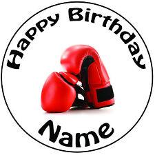 """Personalizzato Compleanno Guantoni Da Boxe ROUND 8"""" facile PRETAGLIATO GLASSA cake topper"""