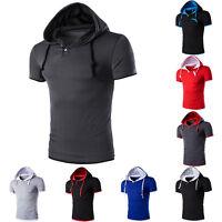Fashion Mens Short Sleeve Hooded Casual Hoodie Sleeveless Shirts Top T-shirt