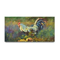 NY Art - Rooster at Sunrise 12x24 Impressionist Original Oil Painting - On Sale!