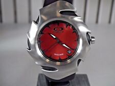 OAKLEY BLADE II WATCH 10-189 Sunburst Red Face Black Rubber Band GREAT CONDITION