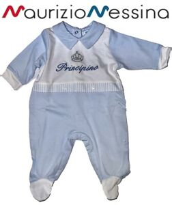Tutina neonato maniche lunghe intera o spezzata in Cotone Principino