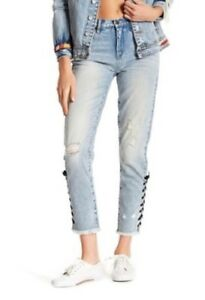 BLANKNYC Womens Jeans High Rise Denim Laced Ankle Distressed Skinny Size 27