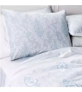 SIMPLY SHABBY CHIC DAMASK LIGHT BLUE GREY WHITE TWIN 2 PC COMFORTER SET New