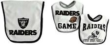 Outerstuff NFL Infant Oakland Raiders 2 Bibs & 1 Burp Cloth Set