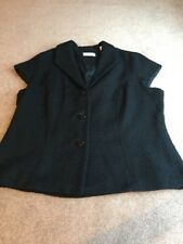 Coldwater Creek Womens Black Lined Button Jacket Vest Boiled Wool Blend W20