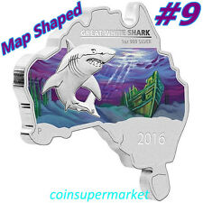 2016 Australia Map Shaped Series Great White Shark 1oz Silver Coin Perth COA Box