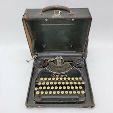Antique L.C. Smith Corona Portable Typewriter No 4 Four Yellow Type w/Case