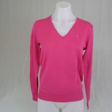 NWT Ralph Lauren Sport Ladies V-Neck Sweater Pullover Cotton Linen Pink Pony M