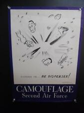 1943 Second Air Force Camouflage Cartoon War Poster Vintage WWII Original RARE