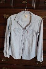 Womens Ann Taylor LOFT Long Sleeve Light Denim Shirt Top XS