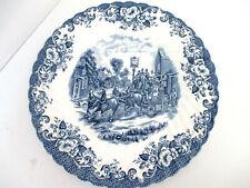 Vintage Johnson Brothers Coach Scene Blue & White Dinner Plate
