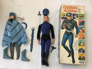 VINTAGE IDEAL CAPTAIN ACTION + BATMAN BOX UNIFORM FIGURE SUPER HEROES BOXED 1967