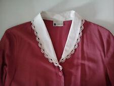 Deep Pink manica corta Camicia Scollo a V con colletto bianco vintage 1990 S