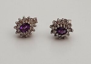 PAIR 9ct White Gold Amethyst Diamond Claw Set Cluster Earrings Scrolls Box 375
