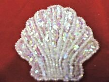 SEQUIN BEADED WHITE AB 3In x 3In SEASHELL APPLIQUE 3193-B