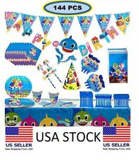 Baby Party Supplies Set  Birthday Parties Decorations Shark Blue 🦈144 pcs 🦈