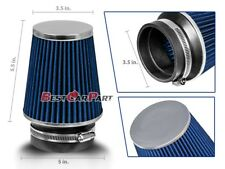 """3.5 Inches 89 mm 3.5"""" Cold Air Intake Narrow Cone Filter Quality BLUE Fit Nissan"""