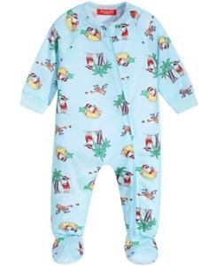 MACY'S Family Pajamas Infant Tropical Santa Footed Pajamas sz 18 Months Holiday