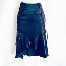 """Lip Service"" Gothic Black Taffeta Skirt Purple Trim Black Lacing (WAS £90)"