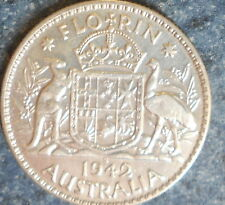1942 S Australian Silver TWO Shilling Florin (TWO BOB) KING GEORGE VI  Very Nice