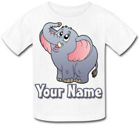 CARTOON ELEPHANT PERSONALISED KIDS T-SHIRT - GREAT GIFT FOR ANY CHILD & NAMED