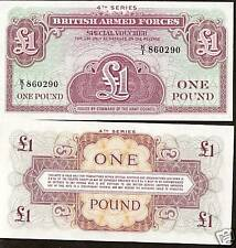 BRITISH ARMED FORCES 1 POUND 4TH SERIES SPECIAL VOUCHER NOTE UNC