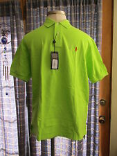 Mens Ralph Lauren Lime Green Preshrunk 100% Cotton Mesh Polo Shirt NWT $85 XL