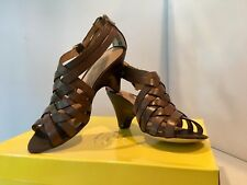 "New CIRCA JOAN & DAVID 'Marvita' Brown Leather Strappy 3"" High Heel Sandals 7M"