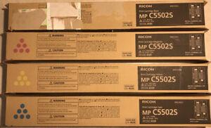 4 x Genuine Ricoh MP C5502S / C5502 Toners  - FULL TONER SET - B C M Y - 5502