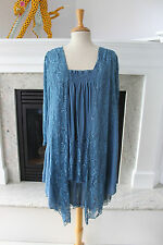 PRETTY ANGEL NWT Blue Lace Smocked Full Layered Comfy Feminine Tunic TOP L