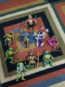 Vintage TMNT Teenage Mutant Ninja Turtles (Playmates) action figure lot of 9