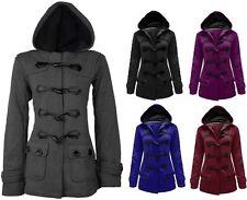 Women's Ladies Duffle Fleece Hooded Coat Jacket Toggle Pocket Plus Size 8-26