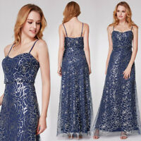 Ever-pretty New Long Sequins Spaghetti Straps Evening Dress Celebrity Gown 07288