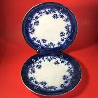 "FLOW BLUE PLATES SET OF 2 MADE IN HOLLAND 9 1/8"" SOCIETE CERAMIQUE MAELSTRICHT"