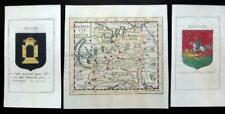 RUSSIA  MOSCOVIE  & THE COATS OF ARMS BY PIERRE DU VAL c1670 GENUINE ANTIQUE MAP