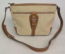Aigner Handbag Purse Shoulder bag Brown Leather Tweed Body Nice Size Zip Top
