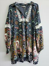 Entro Women's Multi color Long Puff Sleeve Bohemian Collared Dress Size Large