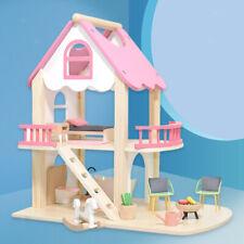 Puppenhäuser Prinzessin Pink Castle Holzspielhaus Puppenzubehör für Kinder