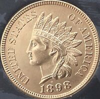 1898 INDIAN HEAD PENNY 4 DIAMONDS  ***BEAUTIFUL PENNY***Cleaned