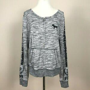 Victoria's Secret PINK Zip Sweatshirt Marled Gray with Sequins