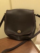 COACH COMPANION Dark Brown leather flap closure crossbody messenger bag 9076