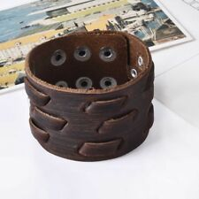 Fashion Genuine Leather Bracelet Cuff Jewelry Brown Wide-brimmed Weaving for Men