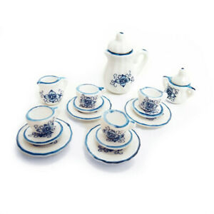 Miniature Decor Ceramic Blue Art Orchid 15Pcs Tea Set 1:12 Dollhouse Accessories
