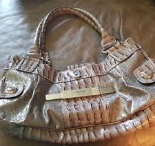 Guess Vintage 1981 Gray/ Brown Shiny Large Handbag EUC